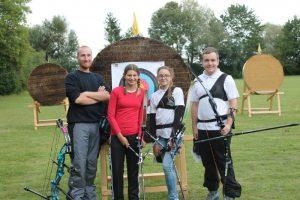 Die Turnierteilnehmer des BCI: Jakob Spiegelberger, Franziska Maurer, Leonie Gerlach und Alexander Kopp